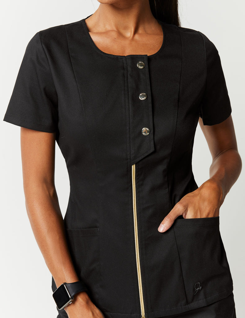 Jaanuu | Snap Front Top - Black - 4