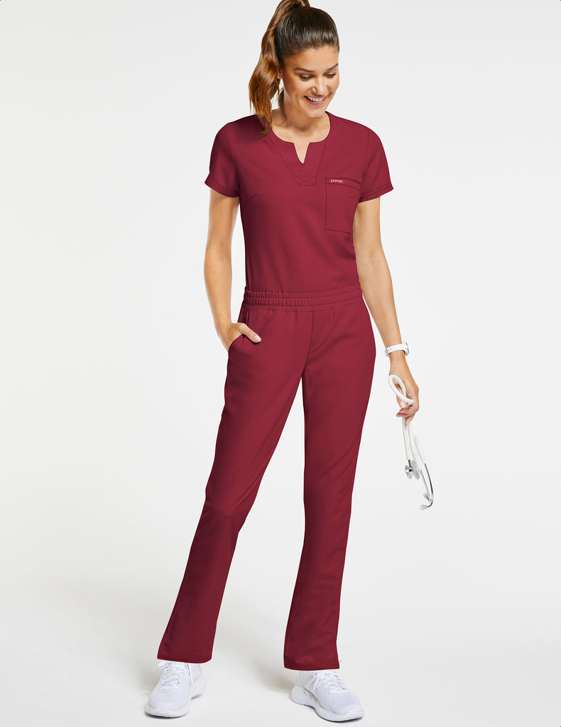 Jaanuu | Women's 1-Pocket Tuck-In Top - Wine - 2