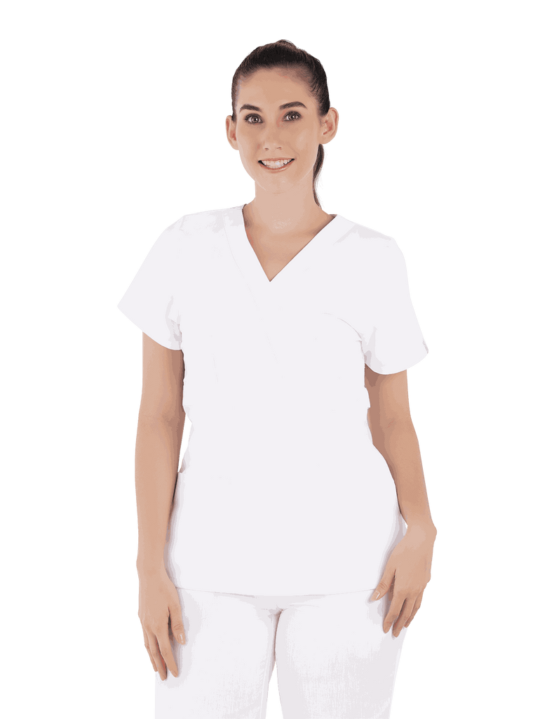 Life Threads | Women's Classic Mock Wrap Scrub Top - White - 4