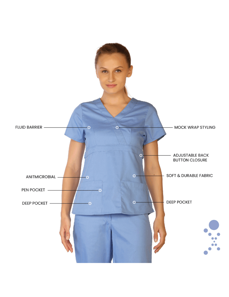 Life Threads | Women's Classic Mock Wrap Scrub Top - Ceil Blue - 8