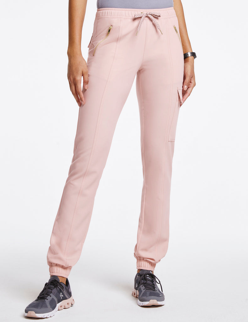 Jaanuu | Women's Essential Gold Zip Jogger - Blushing Pink - 1