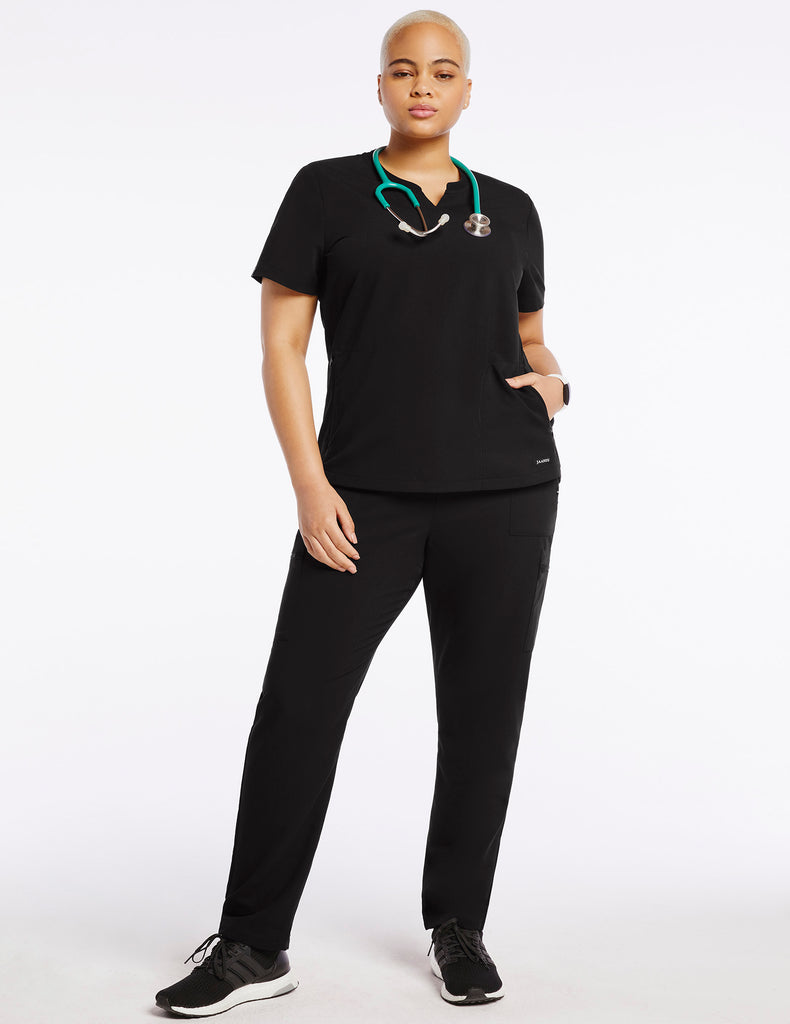 Jaanuu | Women's Crew Step Hem Top - Black - 2 - Curve
