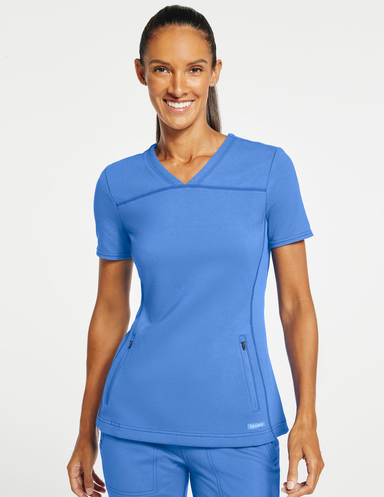 Jaanuu | Women's 2-Pocket Side-Rib Top - Ceil Blue - 1