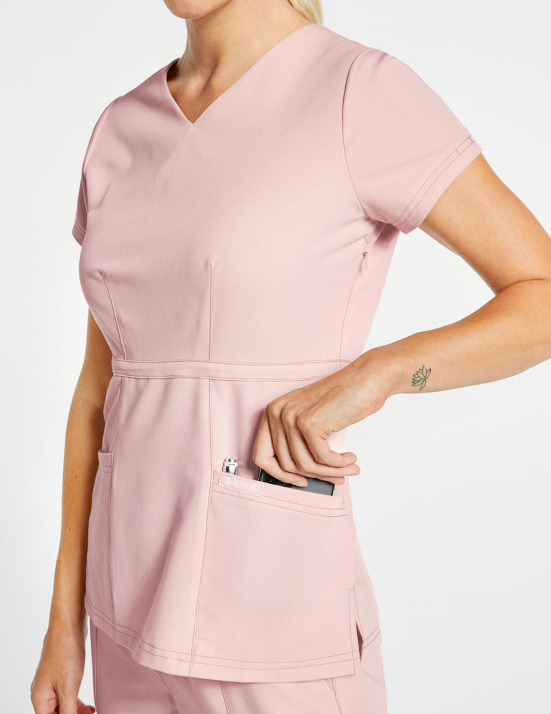 Jaanuu | Women's Signature Peplum Top - Blushing Pink - 3