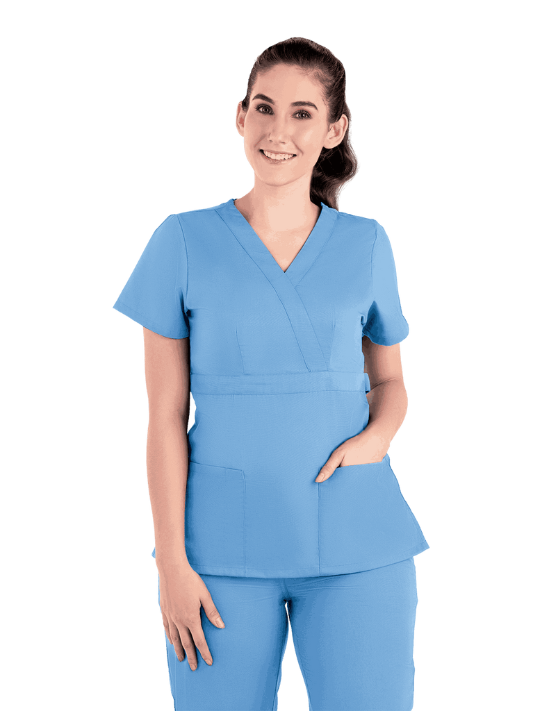 Life Threads | Women's Classic Mock Wrap Scrub Top - Ceil Blue - 5