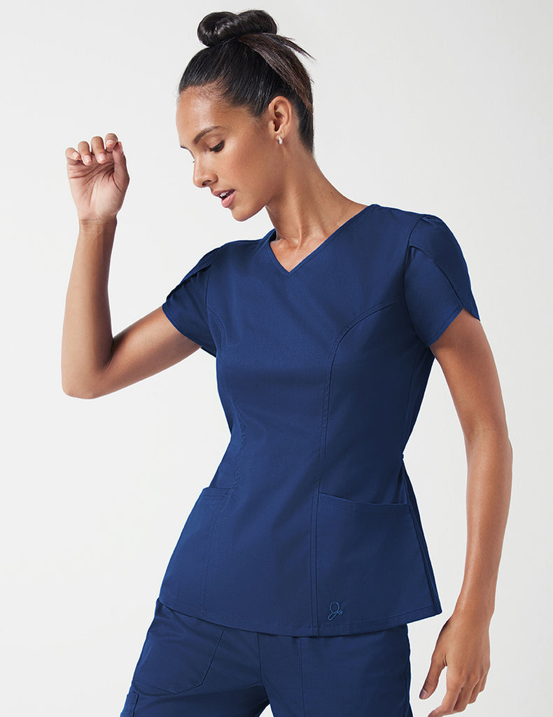 Jaanuu | Tulip Sleeve Top - Estate Navy Blue - 1