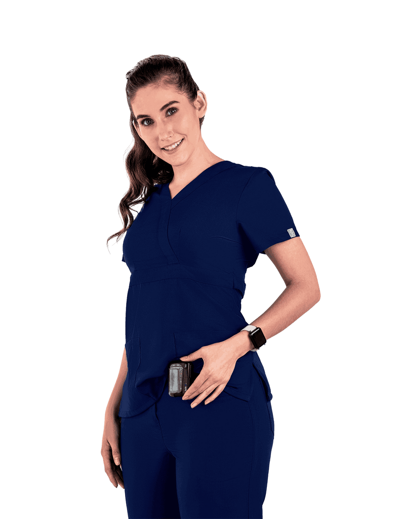 Life Threads | Women's Classic Mock Wrap Scrub Top - Navy Blue - 3