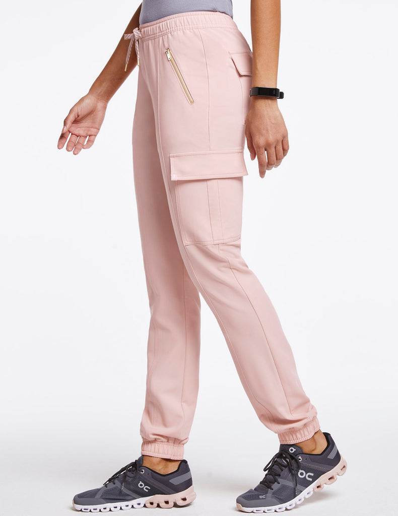 Jaanuu | Women's Essential Gold Zip Jogger - Blushing Pink - 3