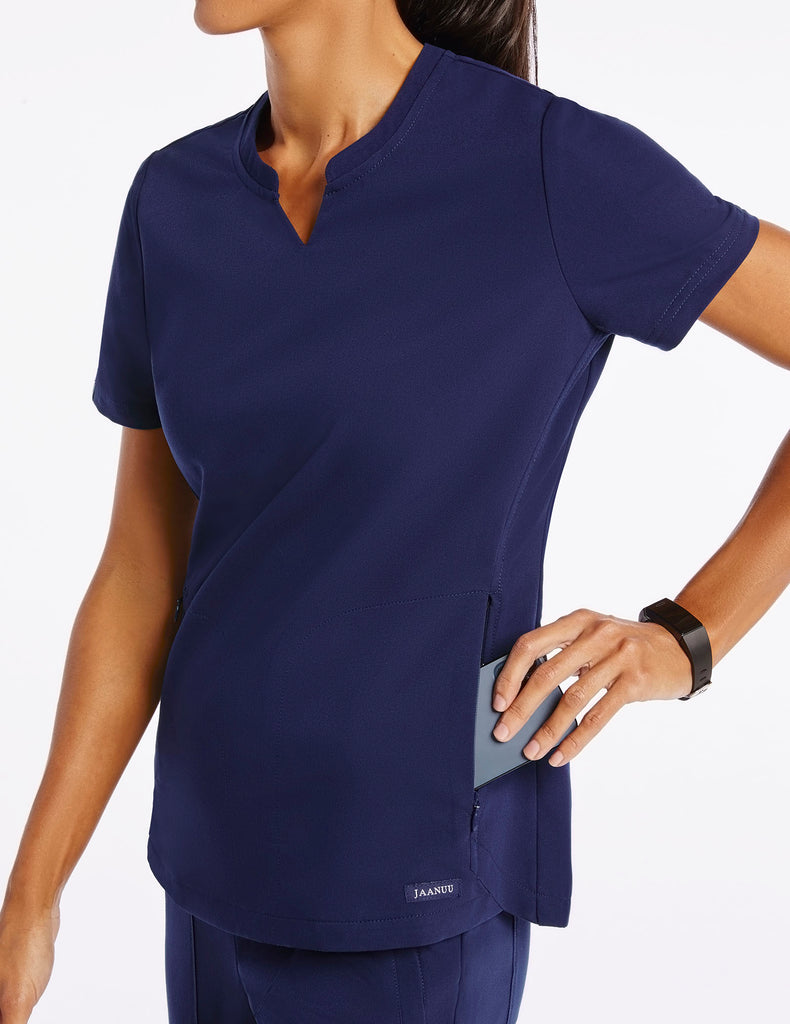 Jaanuu | Women's Crew Step Hem Top - Navy - 3