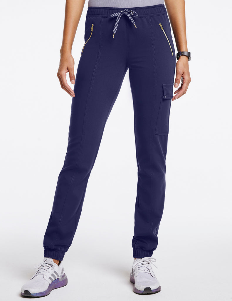 Jaanuu | Women's Essential Gold Zip Jogger - Navy - 1
