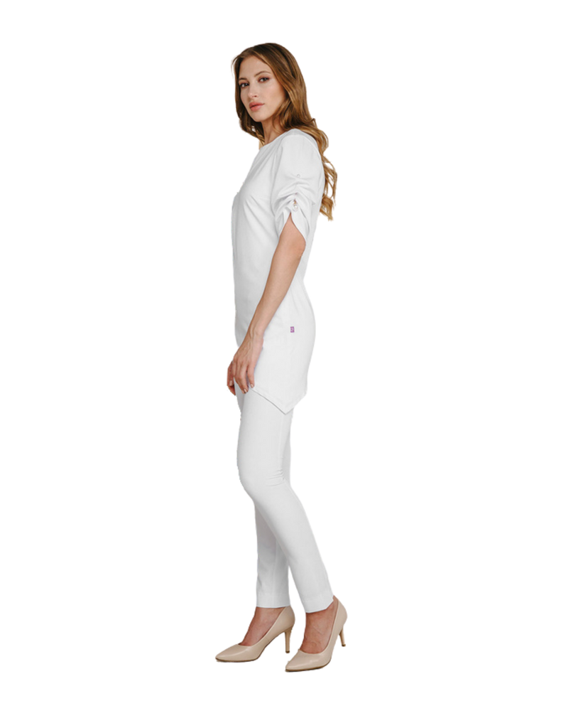 Treat in Style | Asymmetrical Pearl Top - White