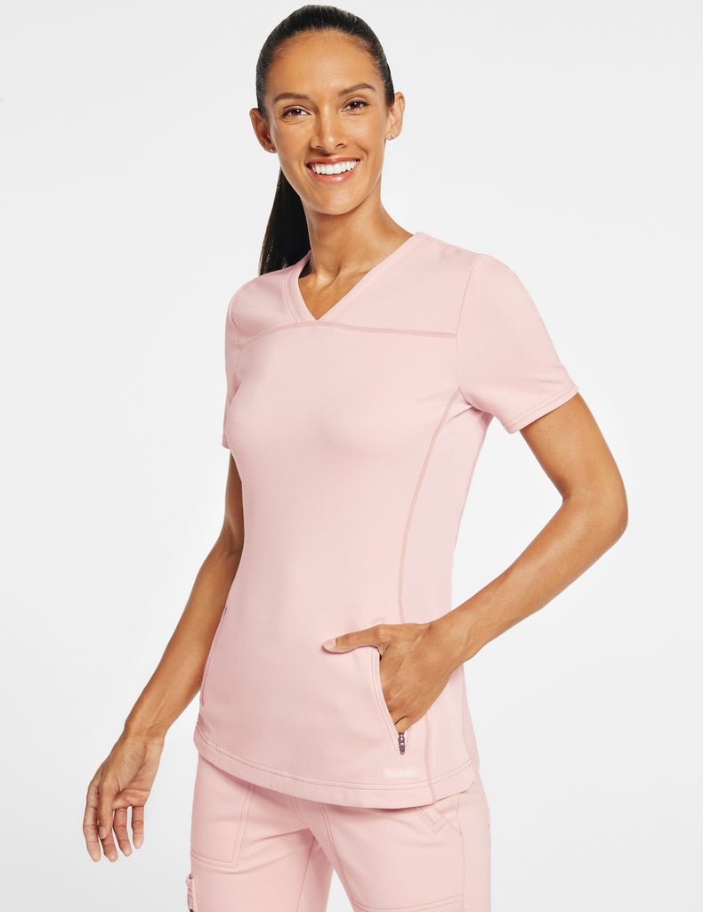 Jaanuu | Women's 2-Pocket Side-Rib Top - Blushing Pink - 1