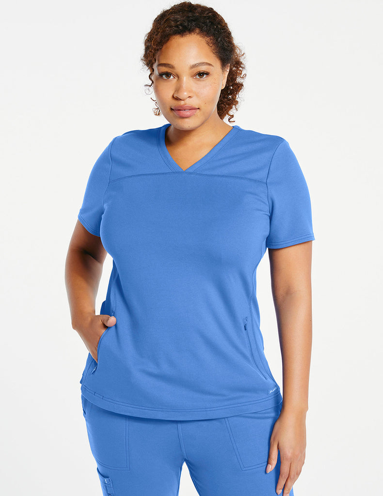 Jaanuu | Women's 2-Pocket Side-Rib Top - Ceil Blue - 1 - Curve