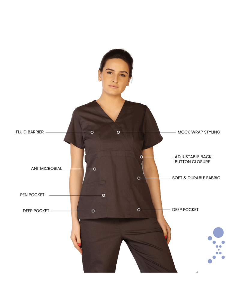 Life Threads | Women's Classic Mock Wrap Scrub Top - Pewter - 7