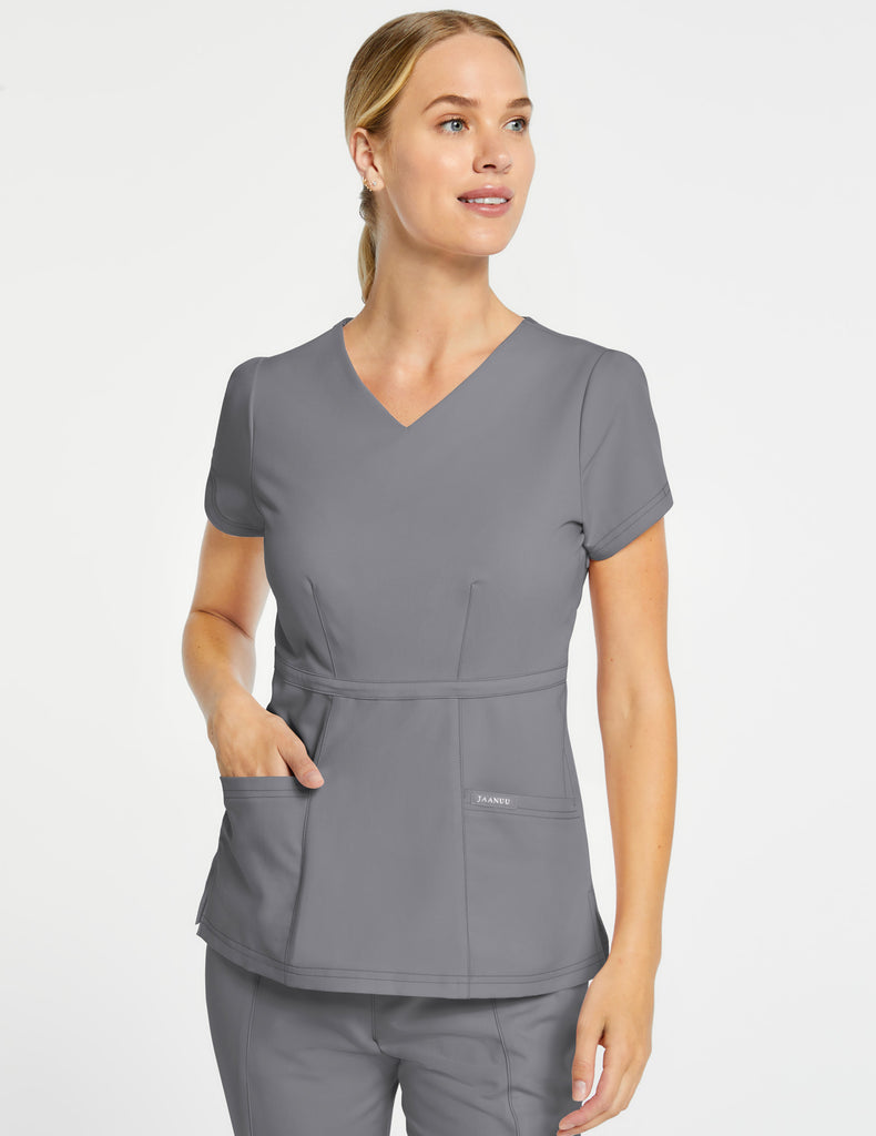 Jaanuu | Women's Signature Peplum Top - Gray - 1