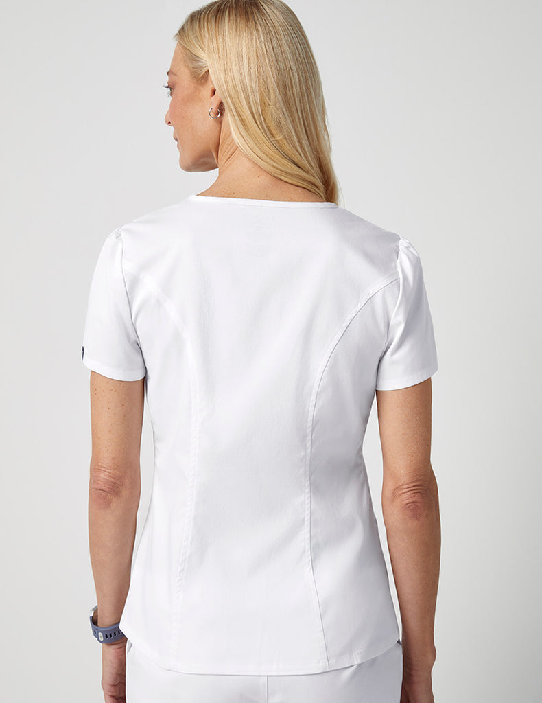 Jaanuu | Mock Wrap Neck Top - White - 4