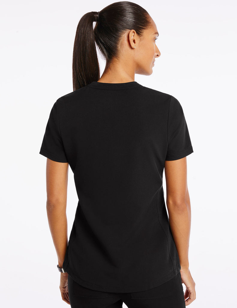 Jaanuu | Women's Crew Step Hem Top - Black - 4