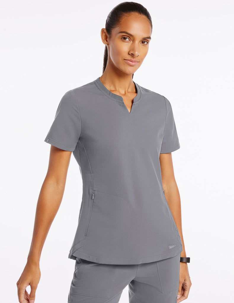 Jaanuu | Women's Crew Step Hem Top - Gray - 1