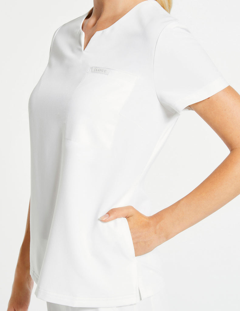 Jaanuu | Women's 3-Pocket Notched Top - White - 3