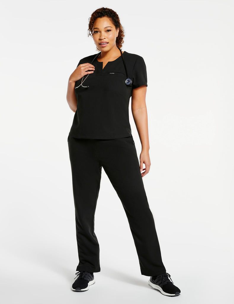 Jaanuu | Women's 1-Pocket Tuck-In Top - Black - 2 - Curve