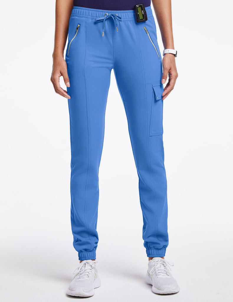 Jaanuu | Women's Essential Gold Zip Jogger - Ceil Blue - 1