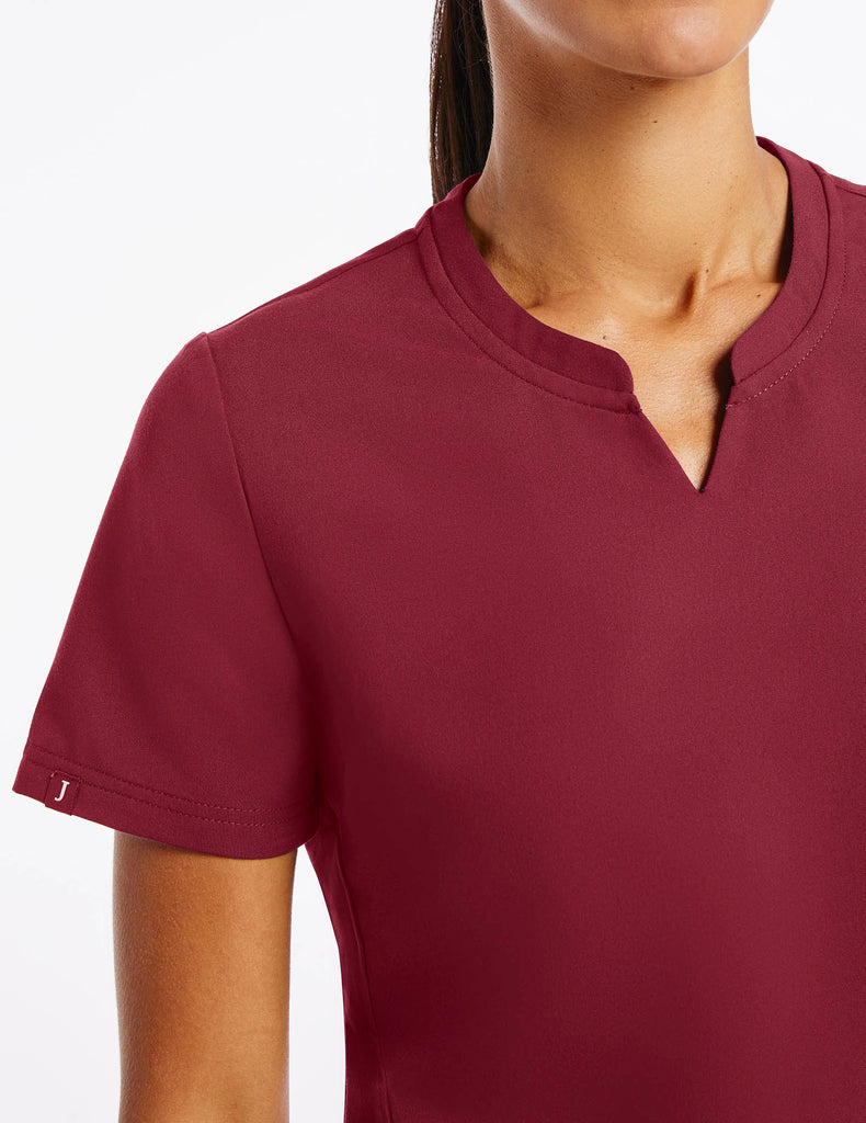 Jaanuu | Women's Crew Step Hem Top - Wine - 5