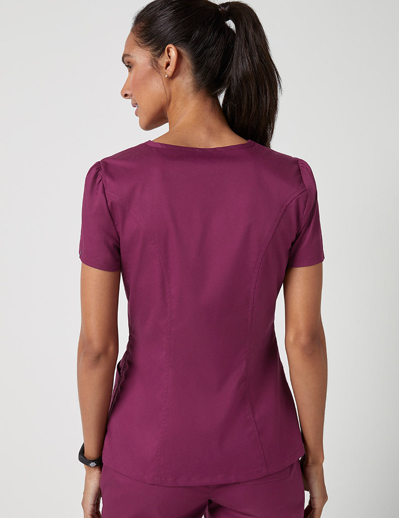 Jaanuu | Mock Wrap Neck Top - Wine - 4