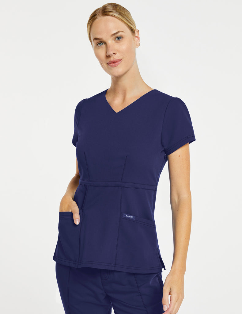 Jaanuu | Women's Signature Peplum Top - Navy - 1