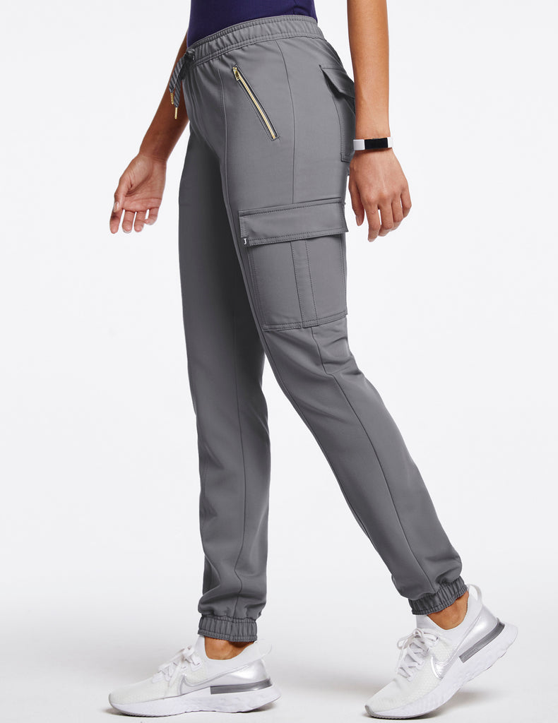 Jaanuu | Women's Essential Gold Zip Jogger - Gray - 3