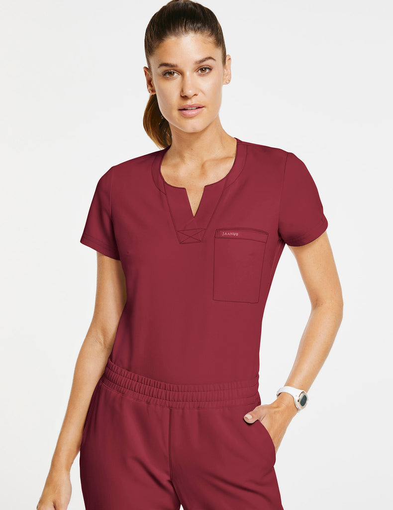Jaanuu | Women's 1-Pocket Tuck-In Top - Wine - 1