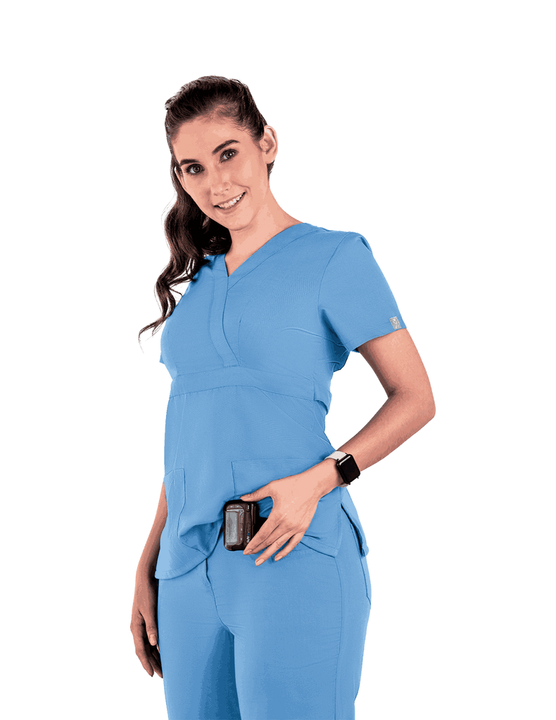 Life Threads | Women's Classic Mock Wrap Scrub Top - Ceil Blue - 3