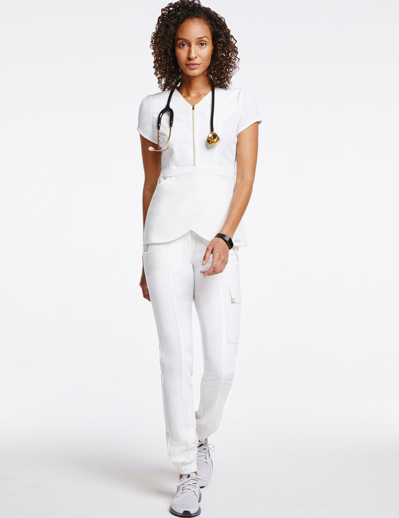 Jaanuu | Women's Essential Gold Zip Jogger - White - 2