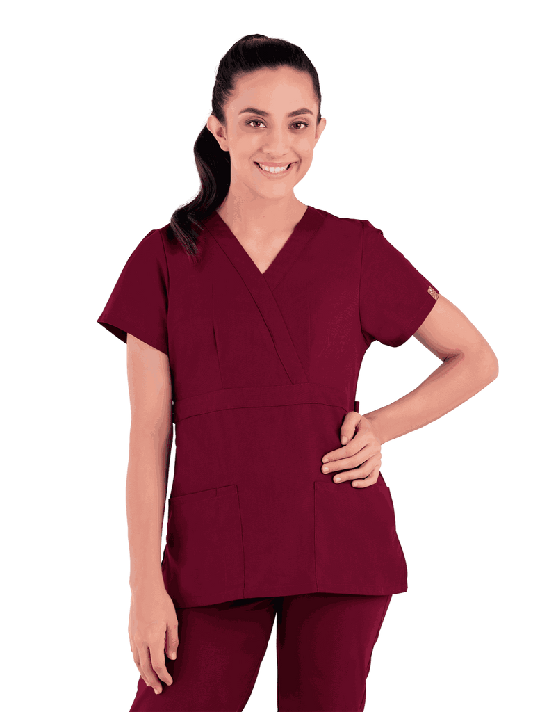 Life Threads | Women's Classic Mock Wrap Scrub Top - Wine - 4