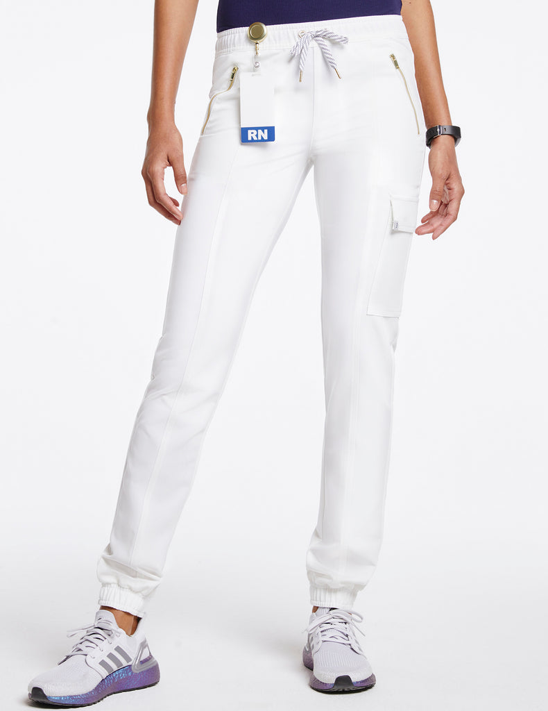 Jaanuu | Women's Essential Gold Zip Jogger - White - 1