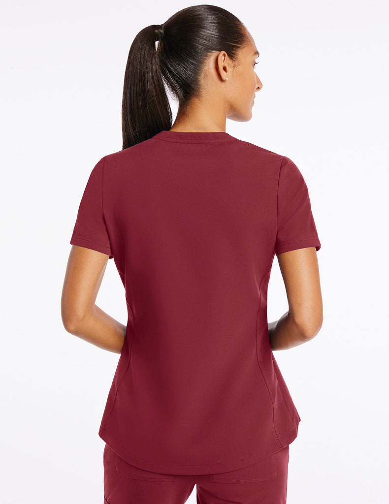 Jaanuu | Women's Crew Step Hem Top - Wine - 4