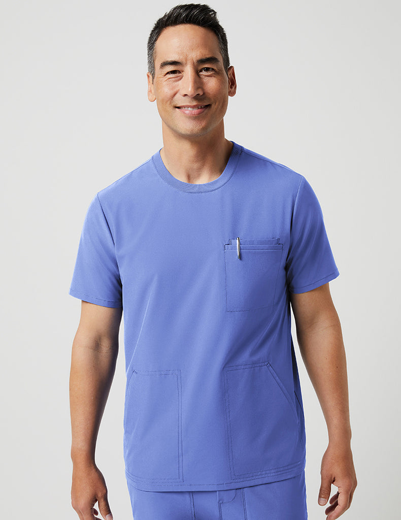 Jaanuu | 4 Pocket Crew Neck Top - Ceil Blue - 1