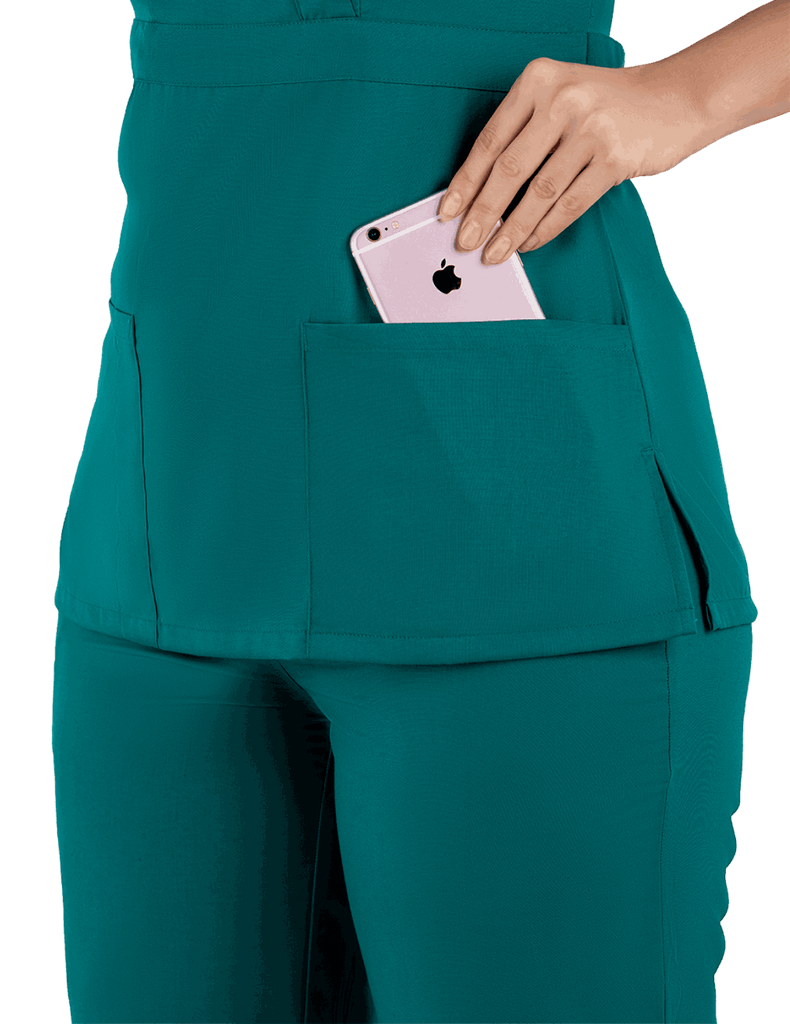 Life Threads | Women's Classic Mock Wrap Scrub Top - Hunter Green - 6