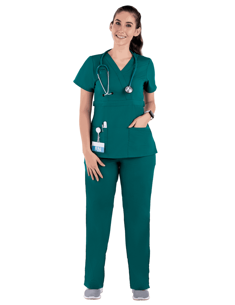 Life Threads | Women's Classic Mock Wrap Scrub Top - Hunter Green - 2