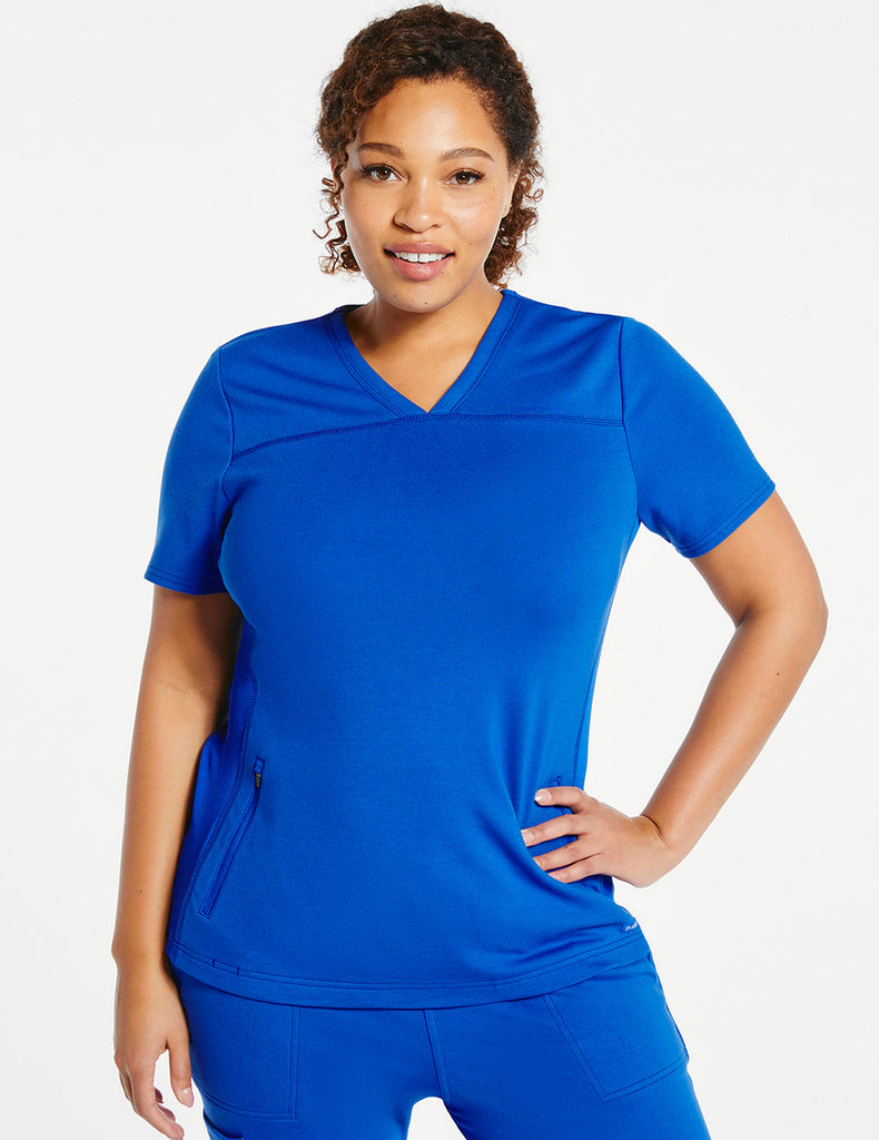 Jaanuu | Women's 2-Pocket Side-Rib Top - Royal Blue - 1 - Curve