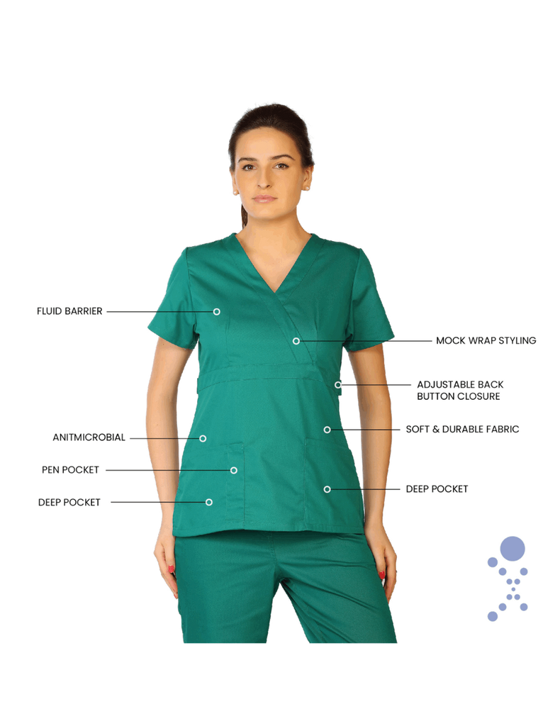 Life Threads | Women's Classic Mock Wrap Scrub Top - Hunter Green - 8