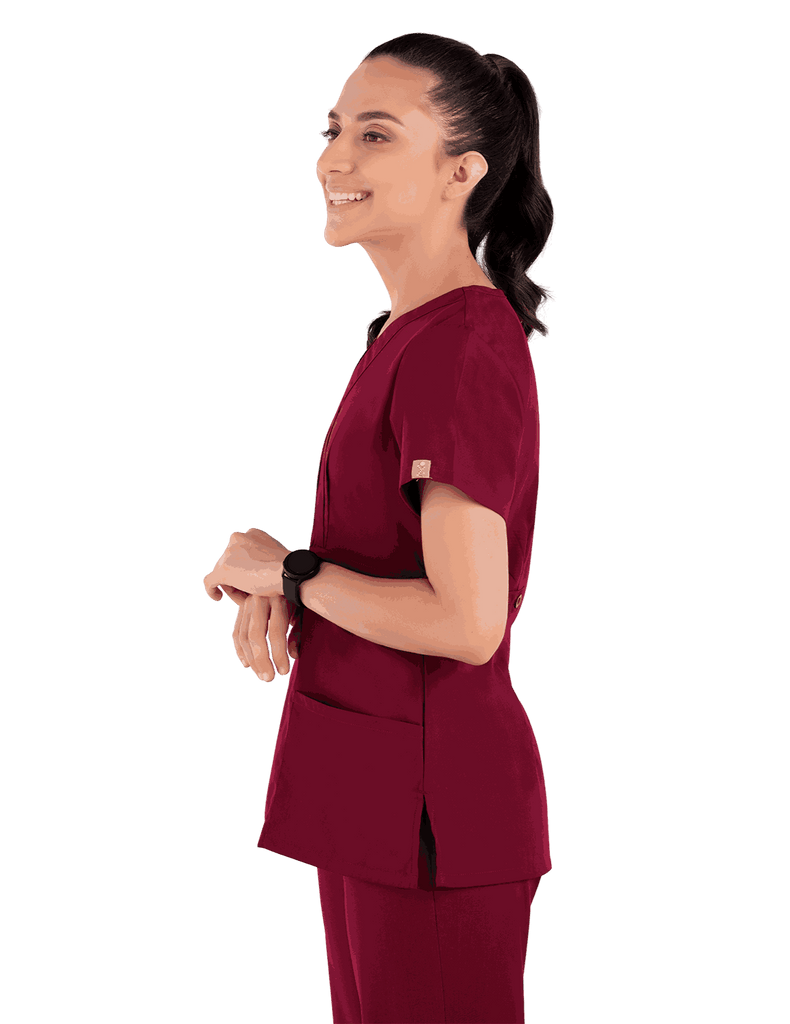 Life Threads | Women's Classic Mock Wrap Scrub Top - Wine - 3