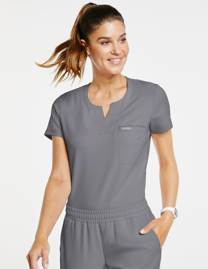 Jaanuu | Women's 1-Pocket Tuck-In Top - Gray - 1