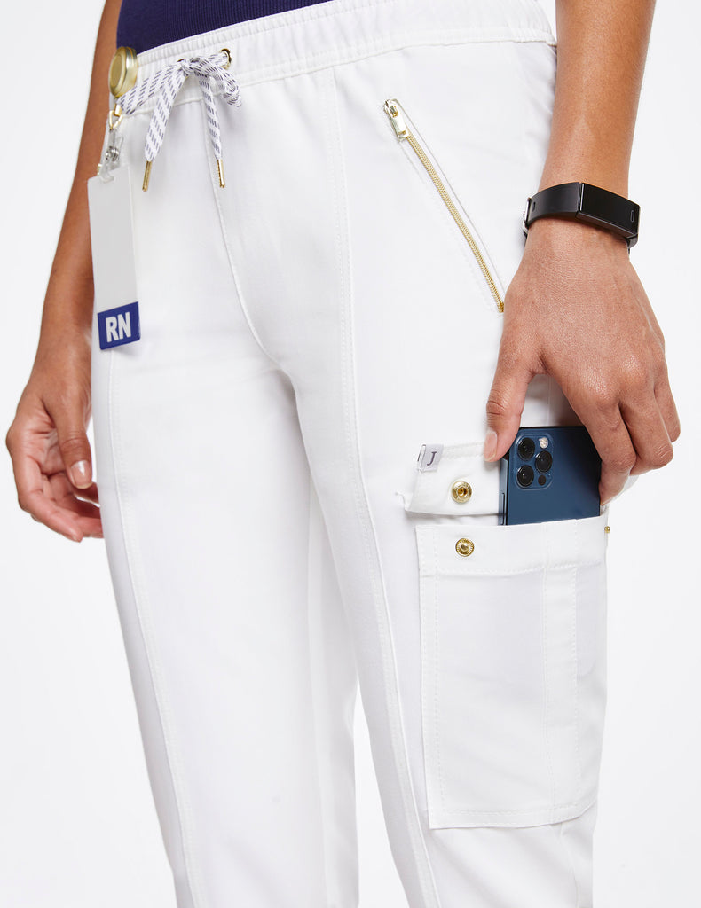 Jaanuu | Women's Essential Gold Zip Jogger - White - 5