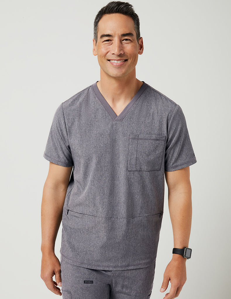 Jaanuu | 3 Pocket V-Neck Top - Heathered Grey - 1