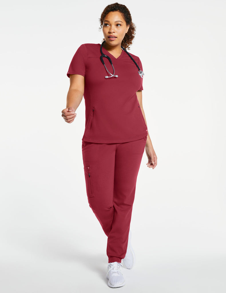 Jaanuu | Women's 2-Pocket Side-Rib Top - Wine - 2 - Curve