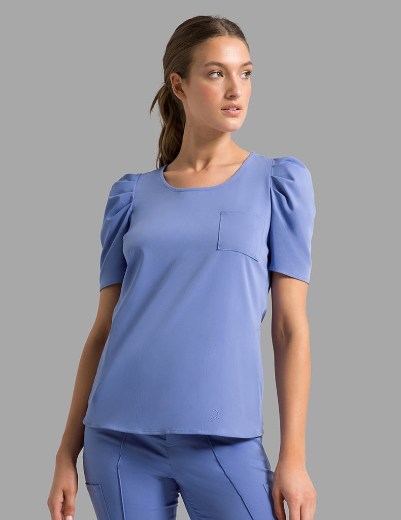 Jaanuu | Pleated Sleeve Top - Ceil Blue - 1