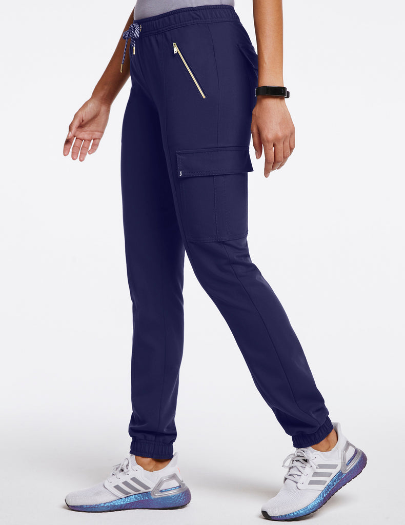 Jaanuu | Women's Essential Gold Zip Jogger - Navy - 3