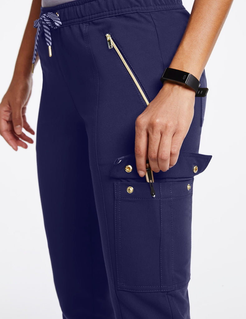 Jaanuu | Women's Essential Gold Zip Jogger - Navy - 5