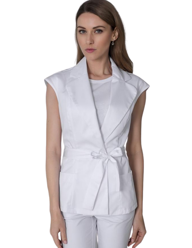 Treat in Style | Scrub Vest Top - White
