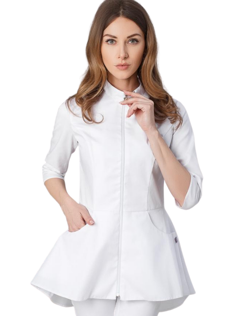 Treat in Style | Zipper Peplum Blouse - White